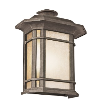 Outdoor lighting mcnoon the art of lighting in rust or black a craftsman style collection of wall brackets hanging lanterns post top lamps and pole lamps tea stained linen glass aloadofball Choice Image